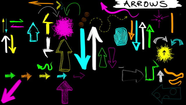animated sketches - hand drawn arrows fluoro neon (with alpha) - arrow bildbanksvideor och videomaterial från bakom kulisserna