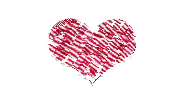 Animated square strokes forms red heart symbol video