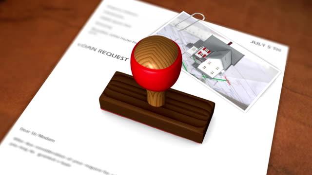vídeos y material grabado en eventos de stock de sello ortografía animados de un préstamo aprobada - hipotecas y préstamos