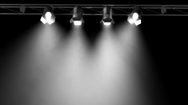 Animated Studio Spotlights (3D, loop) 3D rendered Spotlights that move independently. The lights are volumetric. Loop-able animation. Nice as a background for a show. stage light stock videos & royalty-free footage