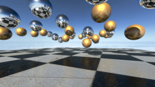 animated surreal oprganic spheres falling down on a checkerboard. 3d rendering. - steampunk fashion stock videos and b-roll footage