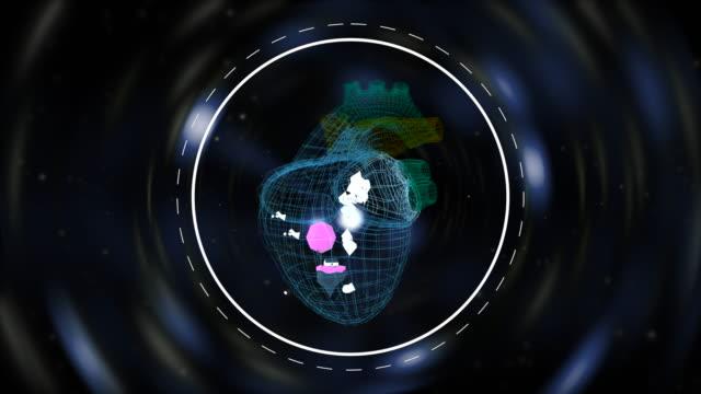 animerad liten värld snurrar inuti hjärtformade rutnät över techno vågor upplyst bakgrund. - recycling heart bildbanksvideor och videomaterial från bakom kulisserna