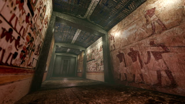 Animated tomb with old wallpaintings in ancient Egypt video