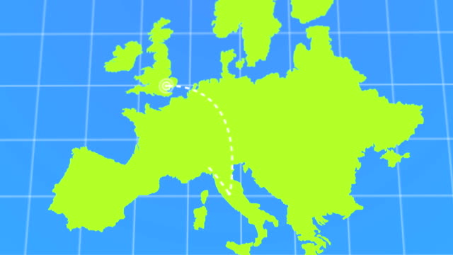 vídeos de stock e filmes b-roll de animated travel and business trip infographic on green europe earth map 4k rendered video - mapa portugal