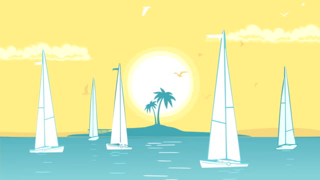 Animated Tropical Landscape Travel & Vacation Animated Tropical Landscape Travel & Vacation recreational boat stock videos & royalty-free footage