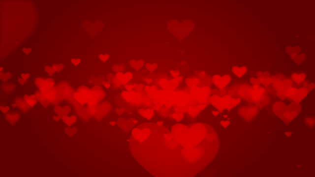 animated valentine hearts on red - simbolo concettuale video stock e b–roll