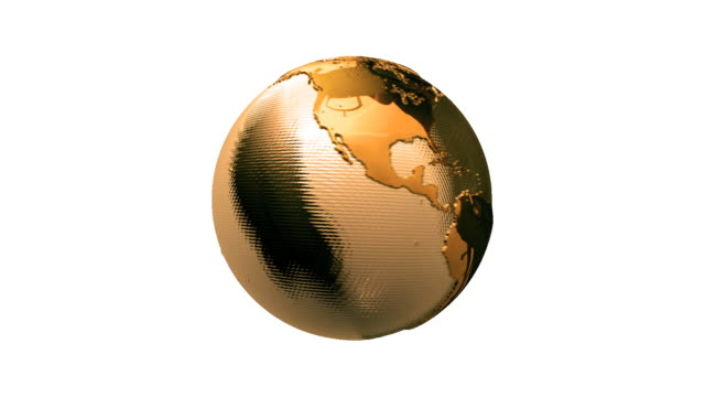 Animated video background. Golden shiny earth on white. HD. Loop. video