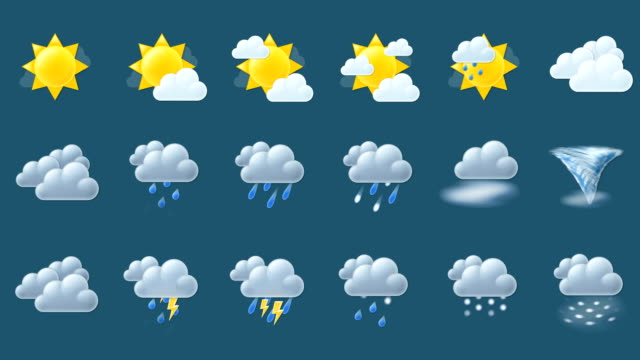 Animated weather icons (loop, alpha) video