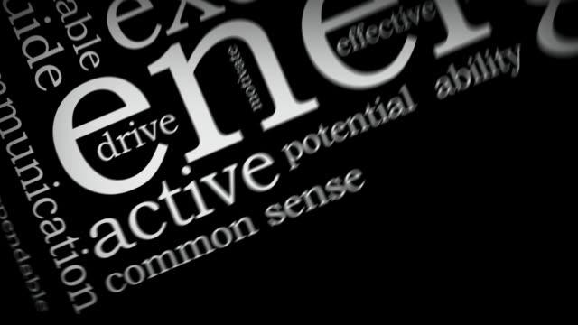 animowany chmura słów o wpływowych słowa - zachodnie pismo filmów i materiałów b-roll