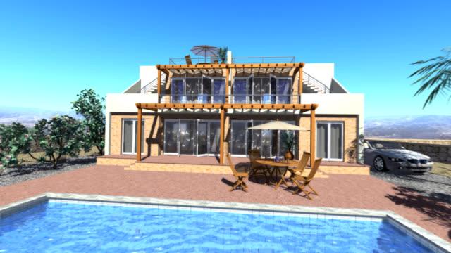 3D animated zoom into villa in sunny location video