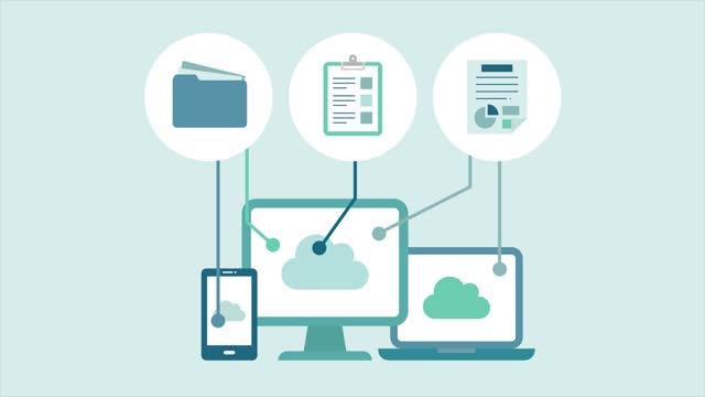 vidéos et rushes de animation des appareils numériques et du cloud. il y a des éléments d'icônes plats pour les téléphones, les pc, les fichiers, les documents et les données. - dossier document