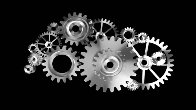 4K Animation 3D render silver metal rotation mechanic wheel gear on black background with alpha matte video