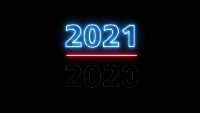 Animation 4K. 4096x2304p. 2020-2021 Change Happy New Year 2021 neon sign background new year resolution concept.