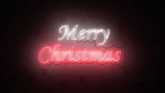 Animation 4K. merry Christmas neon sign banner background for promo video. concept of sale and clearance