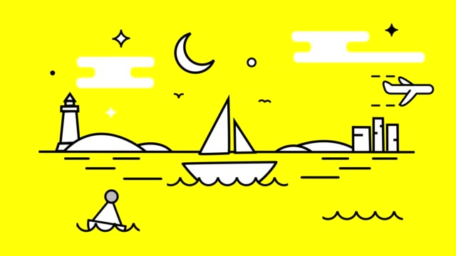 animation. a white boat swinging on the waves, a lighthouse, a night with a moon and stars. bright yellow background