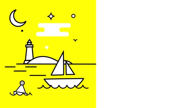 animation. a white boat swinging on the waves, a lighthouse, a night with a moon and stars. bright yellow background. next, white background for inscription or text