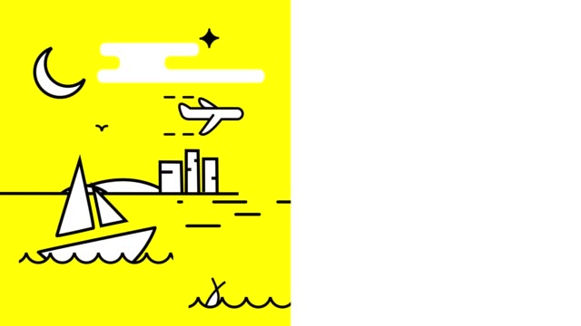 animation. a white boat swinging on the waves, flying airplane in the sky, a night with a moon and stars. yellow background. next, white background for inscription or text
