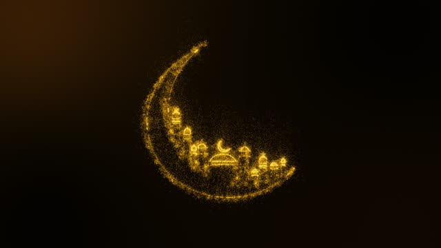 Animation abstract background of gold shining sparkles particle creating a crescent with mosque arabic, Ramadan Kareem . Dark and green screen background. Abstract glowing crescent. - vídeo