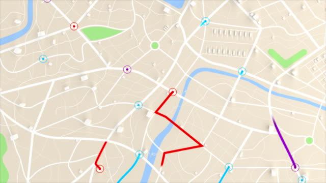 4 k アニメーションの 3 d の建物、場所のパスの移動先マップ全景 - 方向点の映像素材/bロール