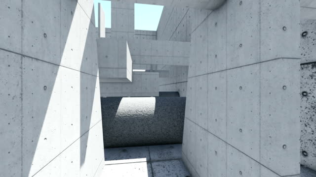 3d animation and rendering of abstract concrete shape - concrete architecture stock videos & royalty-free footage