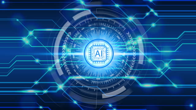 ağ bağlantısı üzerinden animasyon yapay zeka (ai) teknoloji simgeleri, yapay zeka teknolojisi kavramı - cerrahi ekipman stok videoları ve detay görüntü çekimi