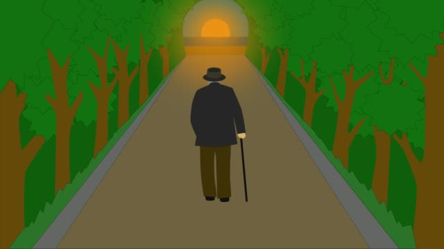 vídeos de stock e filmes b-roll de 2d animation, back view of mature caucasian man in elegant outfit walking along the park alley to sunset and disappearing. concept of aging, life cycle, philosophy. - filosofia