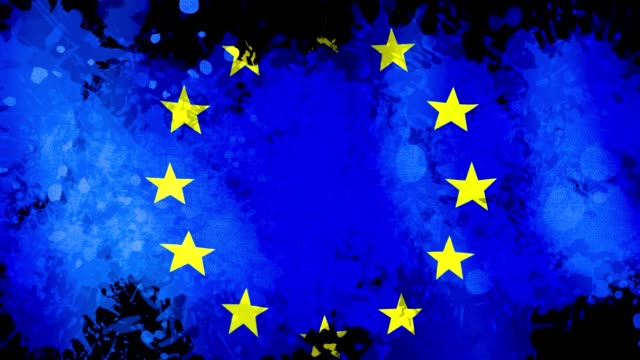 Animation banner of EU flag, background of blue watercolor drops