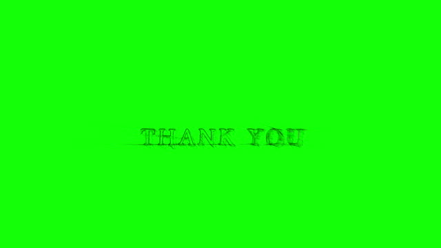 Animation Banner Thank you Sketchy shaky text green background video