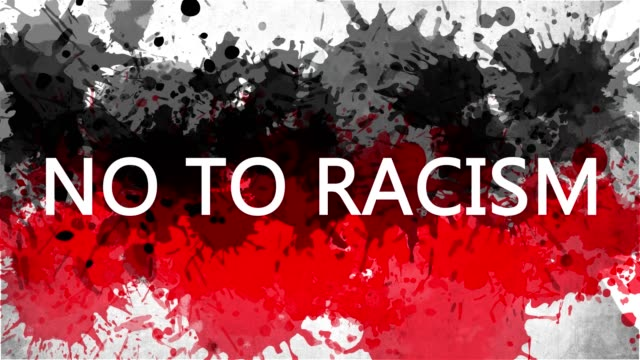 Animation banner with inscription, slogan. NO TO RACISM. Drawn background with watercolor drops of red and black colors. Protest against black killings in the USA