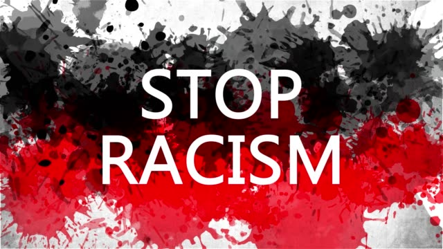 Animation banner with inscription, slogan. Stop Racism. Drawn background with watercolor drops of red and black colors. Protest against black killings in the USA