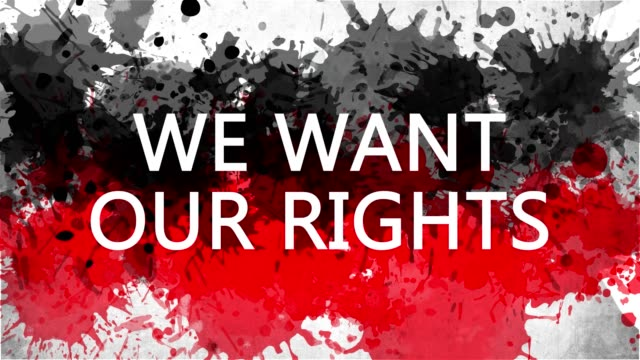 Animation banner with inscription, slogan. We Want Our Rights. Drawn background with watercolor drops of red and black colors. Protest against black killings in the USA