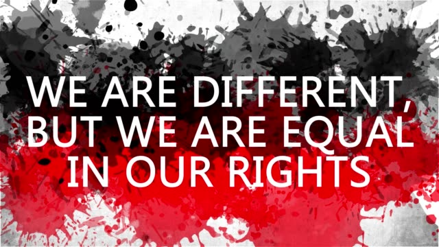 Animation banner with inscription. we are different, but we are equal in our rights. Drawn background with watercolor drops of red and black colors. Protest against black killings in the USA