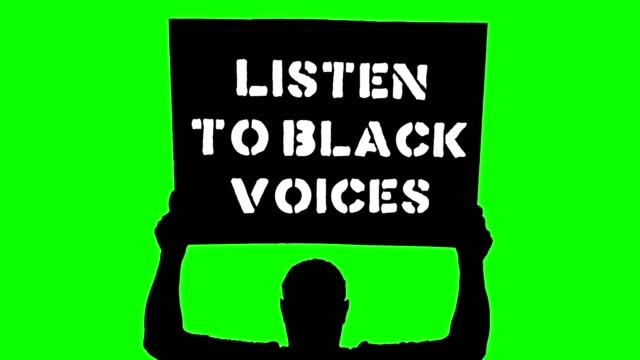Animation. black silhouette of protester holds poster, banner above his head, with slogan- listen to black voices. Green background. Protest in support of black people rights and freedoms in USA and Europe Animation. black silhouette of protester holds poster, banner above his head, with slogan- listen to black voices. Green background. Protest in support of black people rights and freedoms in USA and Europe police meeting stock videos & royalty-free footage