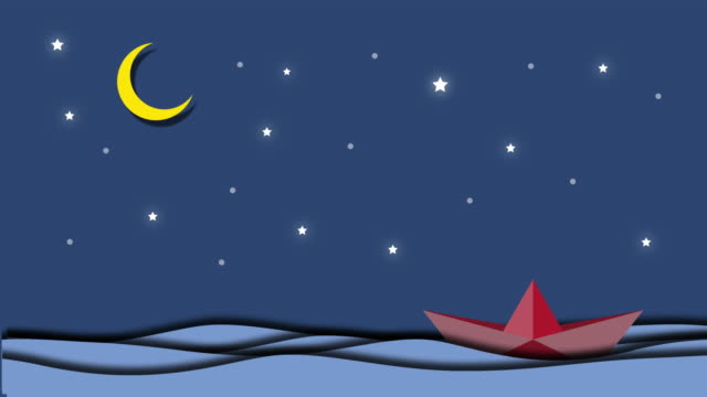 Animation Boat is sailing in the sea under the moonlight and stars, Goodnight and sweet dream origami mobile concept. video