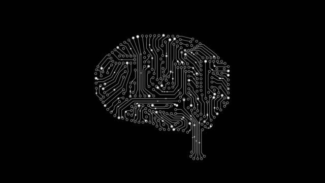 4k 動畫大腦和印刷電路板與點移動線上與 alpha 磨砂 - 人造的 個影片檔及 b 捲影像