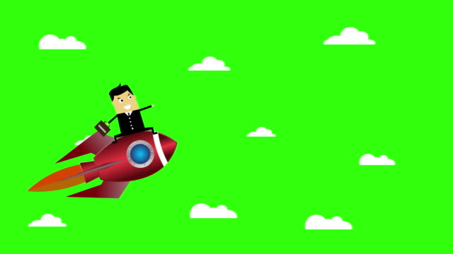 4K: Animation Businessman on a flying idea rocket