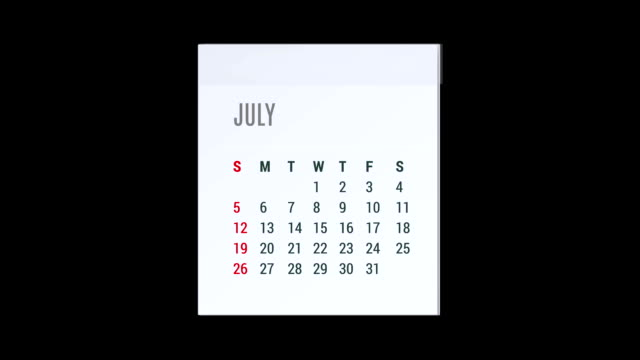 Animation calendar flying - alpha map video