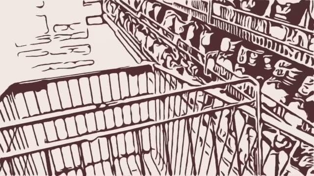 animation, tecknad bakgrund, promenader med kundvagn - animal doodle bildbanksvideor och videomaterial från bakom kulisserna