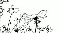 istock animation cartoon , cosmos flower on tree sway with the wind 1202462293