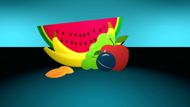 Animation cartoon fruits on blue background video