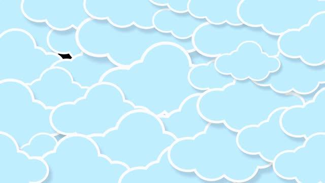 vídeos y material grabado en eventos de stock de animación de dibujos animados kawaii nube de colores en el cielo azul. fondo pastel degradado suave - feminidad