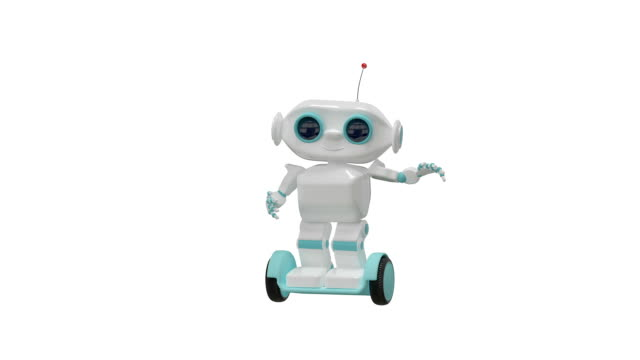 3D Animation Cartoon Robot Doing Exercise with Alpha Channel video
