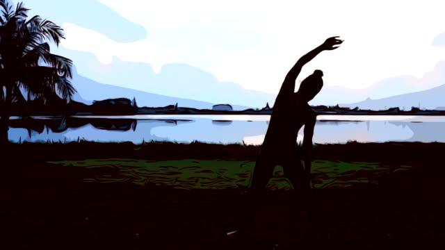 cartone animato di animazione, sexy donna allenamento yoga e pilates - metodo pilates video stock e b–roll