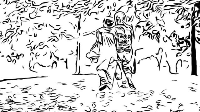 Animation cartoon sketch , Couple senior hand holding together , love eternity