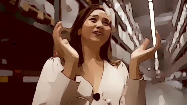 animation cartoon skizze, gesichtsausdruck von geschäftsfrau im geschäft, erfolg, stolz, klatscht die hand - weibliche führungskraft stock-videos und b-roll-filmmaterial
