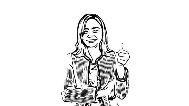vidéos et rushes de esquisse de dessin animé animation, expression du visage de femme d'affaires en magasin, succès, fierté, pouces vers le haut - contour