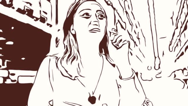 animation cartoon skizze, gesichtsausdruck von business-frau mit digital-tablette drin, zählen und prüfen - weibliche führungskraft stock-videos und b-roll-filmmaterial