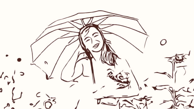 Animation cartoon sketch ,Facial expression by  woman relaxation in field , holding umbrella