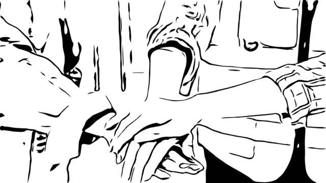 vídeos y material grabado en eventos de stock de dibujo de dibujos animados de animación, signo de mano, trabajo en equipo - continuidad