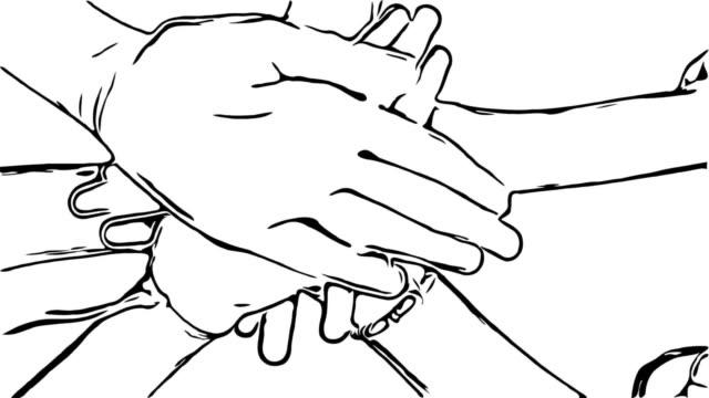 vídeos de stock, filmes e b-roll de esboço de animação dos desenhos animados, sinal de mão, trabalho em equipe - ilustração e pintura